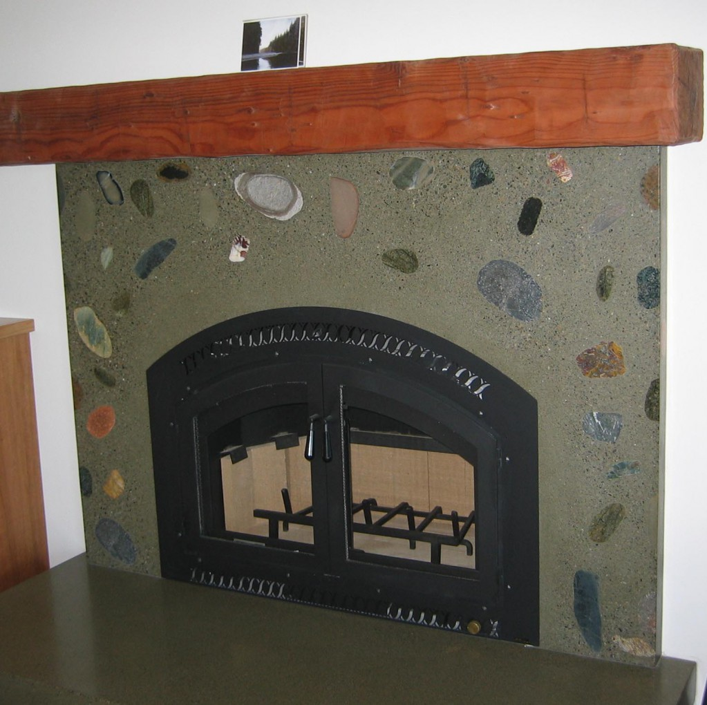 Imbedded Rocks Fireplace